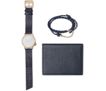 Gold-plated Watch, Cord Wrap Bracelet And Pebble-grain Leather Wallet Set