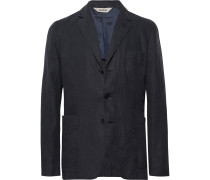 Midnight-Blue Slim-Fit Unstructured Linen Blazer