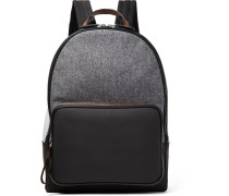 Time Off Rubberised-leather And Flannel Backpack
