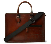 Un Jour Scritto Polished-leather Briefcase