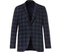 Blue Slim-fit Checked Wool-blend Blazer