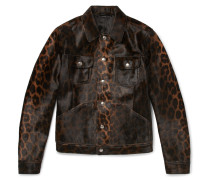 Slim-fit Leopard-print Calf Hair Jacket