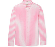 Slim-fit Button-down Collar Striped Stretch-cotton Shirt - Pink