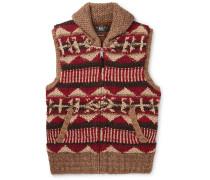 Shawl-collar Linen, Silk, Wool, Cotton And Mohair-blend Gilet