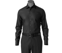 Herren Hemd, Slim Fit, Popeline, schwarz