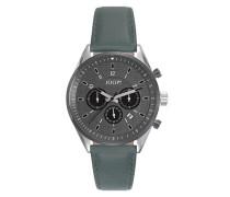 Herren Uhren Uhr, Edelstahl-Lederband, graugrün