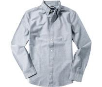 Herren Hemd Slim Fit Oxford nachtblau-weiß meliert