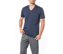 Herren T-Shirt, Baumwolle, blau meliert