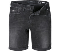 Herren Jeansshorts, Regular Slim Fit, Baumwoll-Stretch 10oz, schwarz