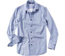 Herren Hemd Slim Fit Baumwolle jeansblau-weiß