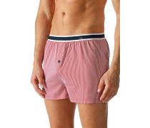 Herren Unterwäsche Boxershorts Baumwoll-Stretch dunkelrot-weiß gestreift