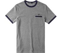 Herren T-Shirt Baumwoll-Piqué grau meliert