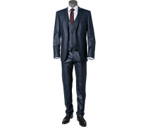 Herren Anzug Slim Fit Schurwoll-Mix mit Stretch nachtblau