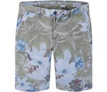 Herren Hose Shorts Baumwoll-Stretch multicolor gemustert beige