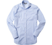 Herren Hemd Shaped Fit Popeline hellblau-weiß gestreift