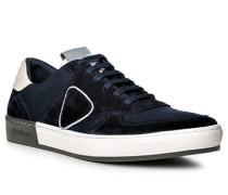 Herren Schuhe Sneaker, Veloursleder-Mesh, dunkelblau