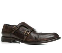 Herren Schuhe Doppelmonkstraps Glattleder dunkel