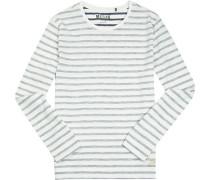Herren T-Shirt Longsleeve Baumwolle wollweiß-grau gestreift