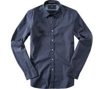 Herren Hemd, Popeline, dunkelblau gemustert