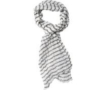 Herren Schal Baumwolle weiß-braun gestreift