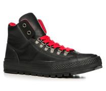 Herren Schuhe Schnürboots Leder schwarz schwarz,rot