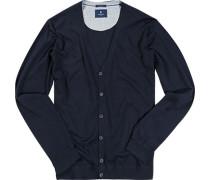 Herren Cardigan Seide-Baumwolle dunkelblau