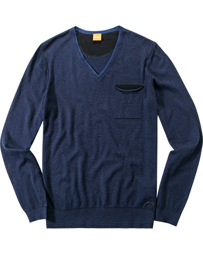 hugo boss herren herren pullover baumwoll schurwoll mix schwarz blau gestreift reduziert. Black Bedroom Furniture Sets. Home Design Ideas