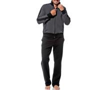 Herren Hausanzug Baumwolle grau-schwarz