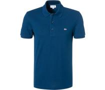 Polo-Shirt Slim Fit Baumwoll-Piqué petrol
