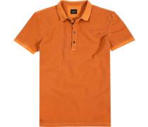 Herren Polo-Shirt, Baumwoll-Piqué, orange meliert