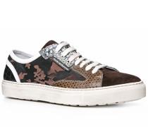 Herren Schuhe Sneaker Kalbleder-Textil braun braun,weiß
