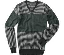 Herren V-Pullover Leinen-Baumwolle schwarz-grün gestreift