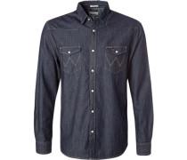 Herren Hemd Regular Fit Jeans indigo blau