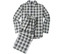 Herren Schlafanzug Pyjama Flanell grau-gelb kariert gelb,grau