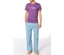 Herren Schlafanzug Jersey-Shirt+Web-Pant Baumwolle lila-türkis multicolor
