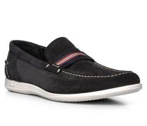 Herren Schuhe Slipper, Kalbleder, blau