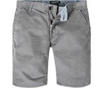 Herren Hose Shorts Straight Fit Baumwolle grau