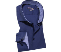 Herren Hemd Slim Fit Popeline navy blau