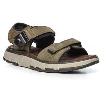 Schuhe Sandalen, Leder, oliv