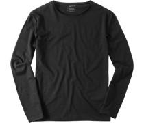 Herren Langarm-Shirt Slim Fit Baumwolle schwarz
