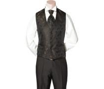 Herren Anzug Weste Slim Fit Microfaser haselnussbraun-schwarz gemustert
