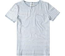 Herren T-Shirt Modern Fit Baumwolle jeansblau gestreift weiß