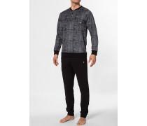 Herren Schlafanzug Pyjama Baumwolle schwarz meliert