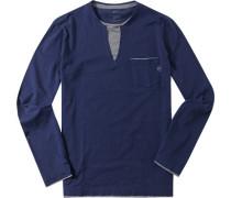 Herren T-Shirt Longsleeve Slim Fit Baumwolle navy blau