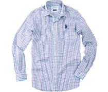Herren Hemd Regular Fit Baumwolle Violett- Grün kariert violett