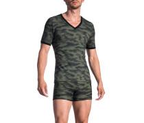 Herren T-Shirt Microfaser khaki-schwarz gemustert grün