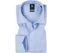 Herren Hemd, Modern Fit, Popeline, bleu blau