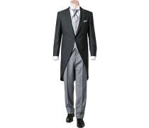 Herren Anzug Cutaway Slim Line Wolle anthrazit meliert grau