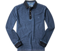 Herren Polo-Shirt Baumwoll-Piqué rauchblau meliert