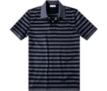 Herren Polo-Shirt Baumwoll-Jersey graublau-navy gestreift
